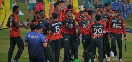 Bangladesh celebrate after winning the fifth T20 against Australia
